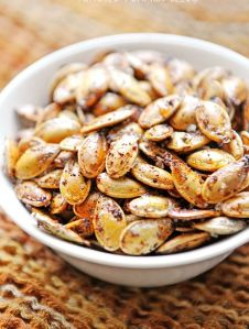 roasted pumpkin seeds are a healthy alternative.