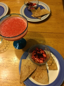 Fruit salsa and strawberry Margaritas